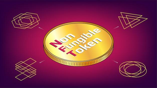Infografika niezmiennych tokenów nft z izometryczną złotą monetą pośrodku i unikalnymi tokenami wokół. płać za unikalne przedmioty kolekcjonerskie w grach lub sztuce. ilustracja wektorowa.