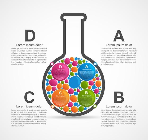 Infografika o nauce i medycynie w postaci probówek. elementy wystroju.