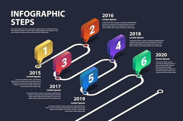 Infografika osi czasu gradientu szablon