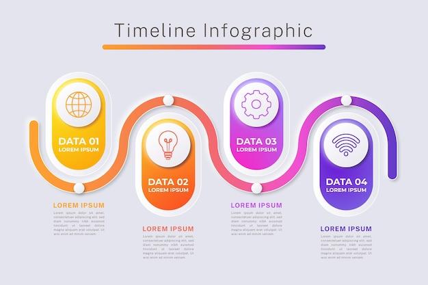 Infografika osi czasu gradientu w różnych kolorach