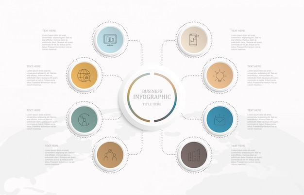 Infografika osiem elementów koła i ikony.