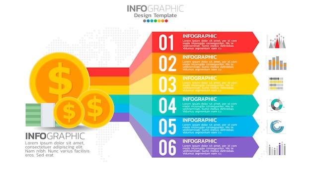Infografika pieniędzy z 6-etapowym diagramem elementów, projekt wykresu biznesowego.