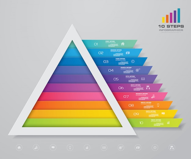 Infografika piramidy z szablonem tekstowym na każdym poziomie.
