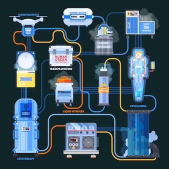 Infografika płaski schemat blokowy cryonics transplantacji