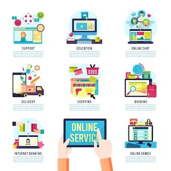 Infografika płaskich usług internetowych