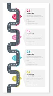 Infografika płaskiej mapy drogowej