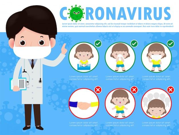 Infografika porad dotyczących zapobiegania koronawirusowi 2019 ncov. noszenie maski na twarz, odległość metra od ludzi, mycie rąk mydłem, kichanie zakrywające usta i nos chusteczką. pojęcie epidemii grypy