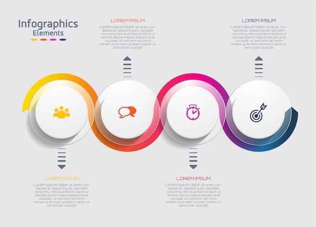 Infografika. prezentacja i wykres. kroki lub procesy. liczba opcji. szablon przepływu pracy