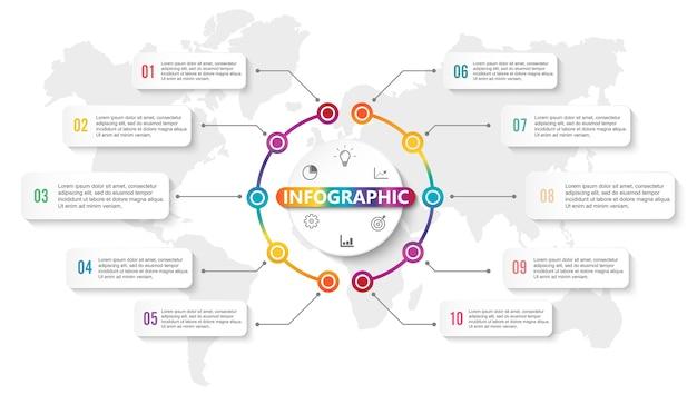 Infografika projektowania elementów dla danych biznesowych z 10 opcjami.