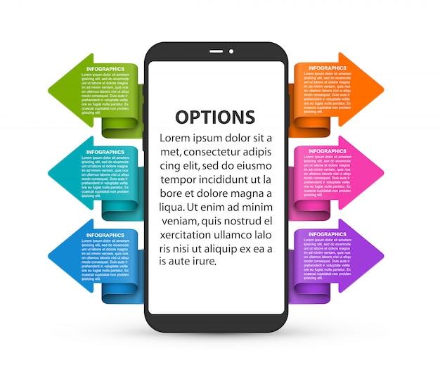 Infografika przedstawiająca telefon komórkowy z kolorowymi strzałkami.