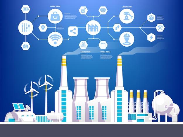 Infografika przemysłowa. ilustracja przemysłu 4.0