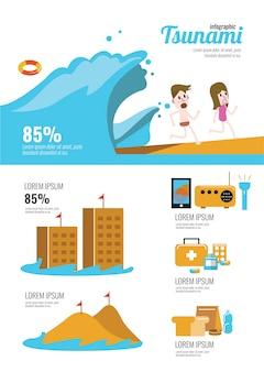 Infografika przetrwania tsunami. płaskie elementy