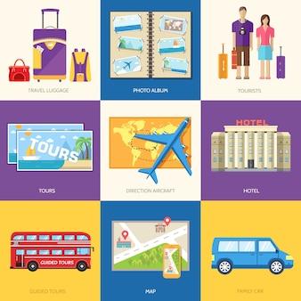 Infografika przewodnika turystycznego z lokalizacjami i przedmiotami wycieczek wakacyjnych