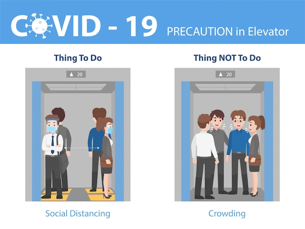 Infografika robić i nie ludzie dystansują się z tłumem w windzie