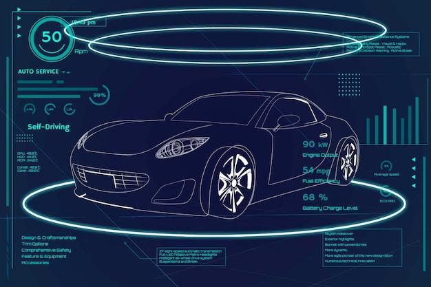 Infografika samochodu sportowego z niebieskim neonem
