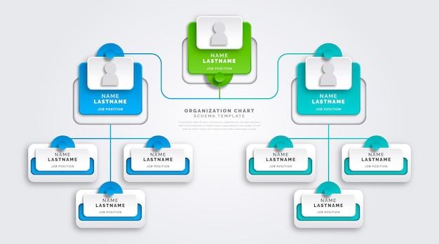 Infografika schematu organizacyjnego w stylu papieru