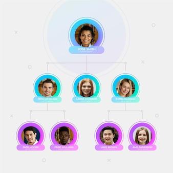 Infografika schematu organizacyjnego ze zdjęciem