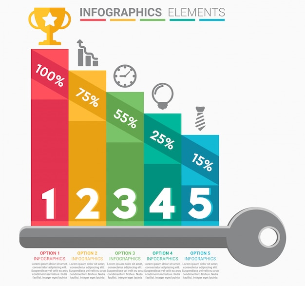 Infografika schody biznesowe z pięcioma krokami
