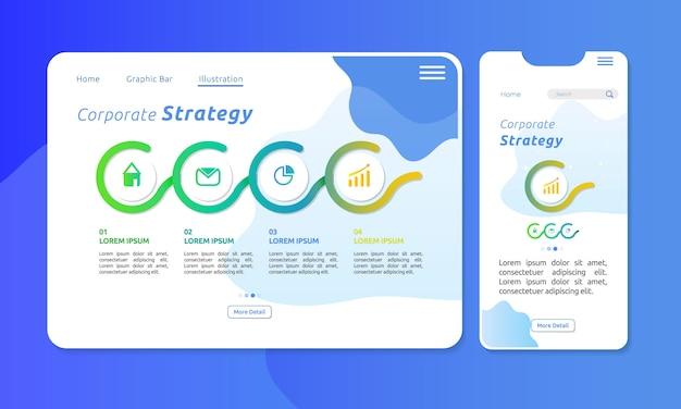 Infografika strategii korporacyjnej w sieci lub na wyświetlaczu mobilnym