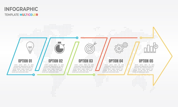 Infografika strzałka cienka linia 5 opcji.
