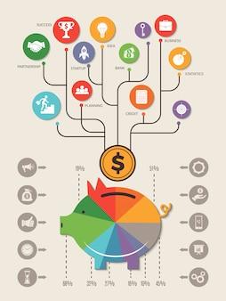 Infografika świni. zapisz domu pieniądze gotówki osobistej inwestycji banku wektor biznes szablon