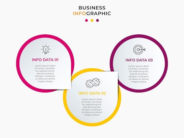 Infografika szablon biznesowy z ikonami i 3 opcjami lub krokami