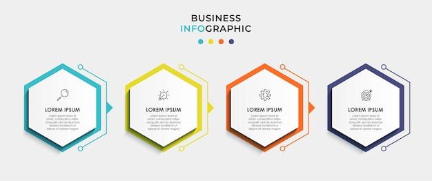Infografika szablon biznesowy z ikonami i 4 opcjami lub krokami