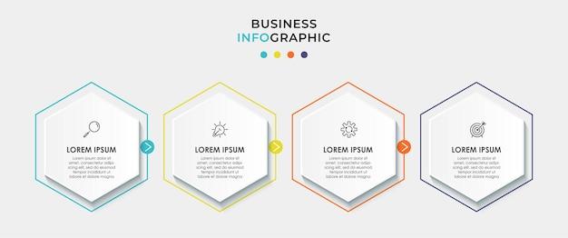 Infografika Szablon Biznesowy Z Ikonami I 4 Opcjami Lub Krokami Premium Wektorów