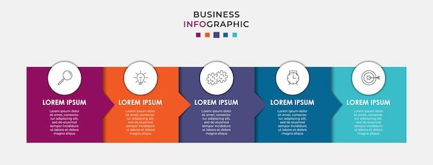 Infografika szablon biznesowy z ikonami i 5 pięcioma opcjami lub krokami