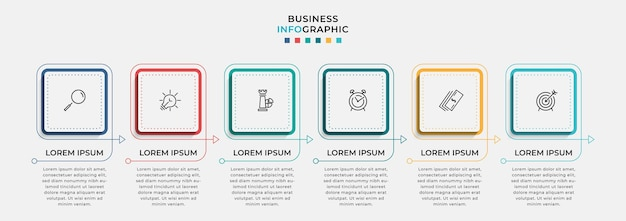 Infografika szablon biznesowy z ikonami i 6 opcjami lub krokami