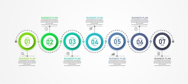 Infografika szablon etykiety z 7 opcjami lub ikonami kroków. infografiki dla pomysłów biznesowych może być wykorzystany w edukacji, schematach blokowych, prezentacjach, stronach internetowych, banerach.