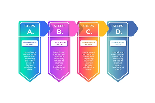 Infografika szablon gradientu w czterech krokach