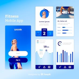 Infografika szablon mobilny aplikacji fitness