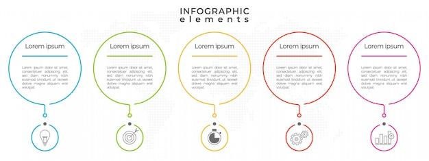 Infografika szablon projektu cienkiej linii przetwarza 5 opcji.