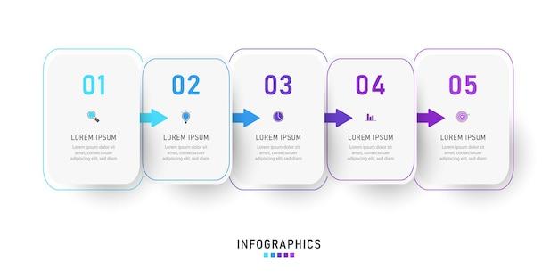 Infografika szablon projektu etykiety z ikonami i 5 opcjami lub krokami