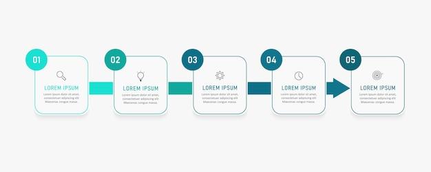 Infografika szablon projektu etykiety z ikonami i 5 opcjami lub krokami.