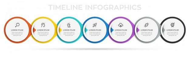 Infografika szablon projektu etykiety z ikonami i 7 opcjami lub krokami.
