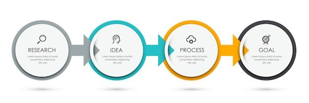 Infografika szablon projektu etykiety z ikonami