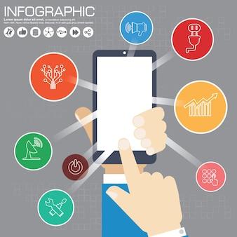 Infografika szablon projektu i koncepcja biznesowa z 6 opcjami, częściami, krokami lub procesami. może być używany do układu przepływu pracy, diagramu, opcji liczbowych, projektowania stron internetowych.