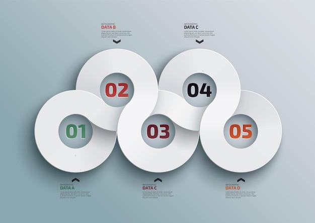 Infografika szablon projektu informacji marketingowych z 5 opcjami lub etapami wizualizacji danych