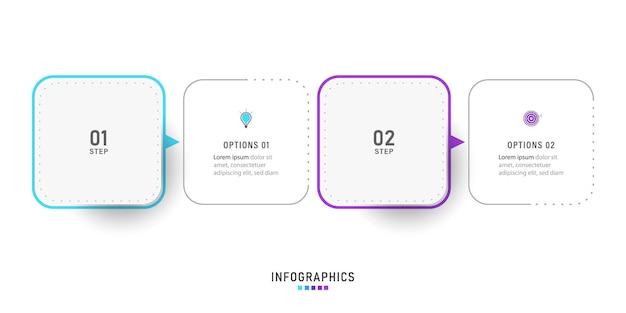 Infografika szablon projektu z 2 opcjami lub krokami.