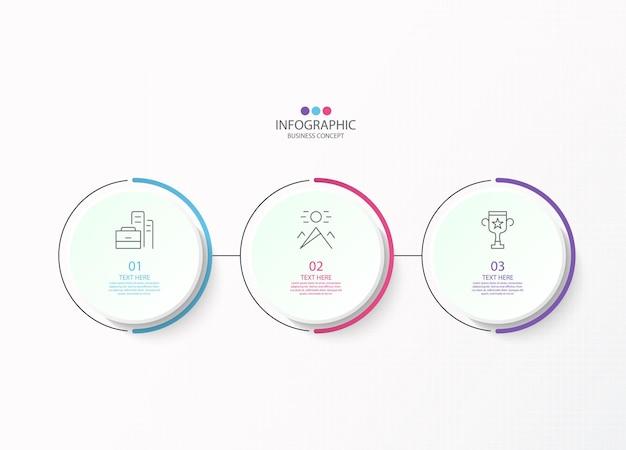 Infografika szablon projektu z ikonami cienkich linii i 3 opcjami