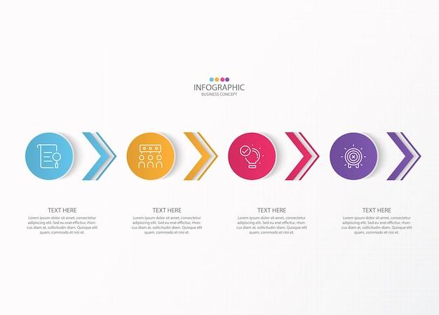 Infografika szablon projektu z ikonami cienkich linii i 4 opcjami
