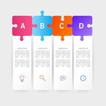 Infografika szablon projektu z ikonami i 4 opcjami lub krokami.
