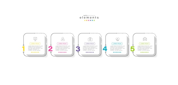 Infografika szablon projektu z ikonami i 5 opcjami lub krokami.