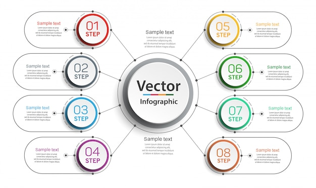 Infografika szablon projektu z opcjami i 8 krokami