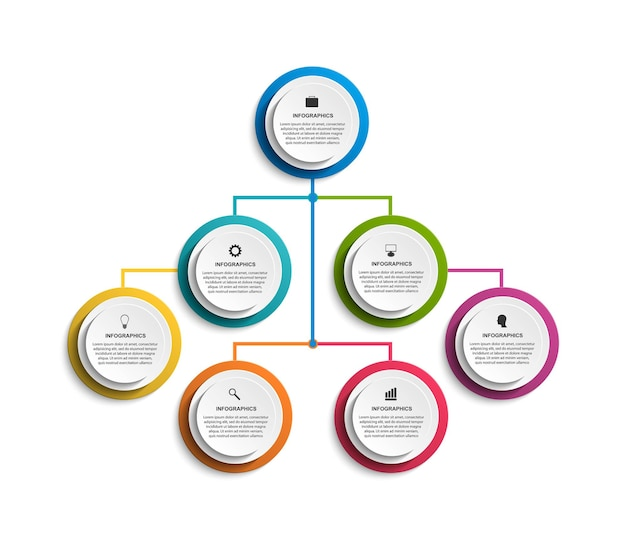 Infografika szablon schematu organizacyjnego do prezentacji biznesowych, banerów informacyjnych, osi czasu lub projektowania stron internetowych.
