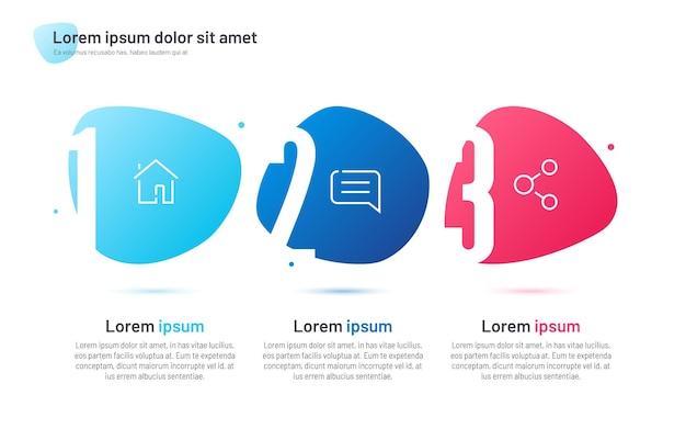 Infografika szablon składający się z czterech ponumerowanych abstrakcyjnych kształtów.