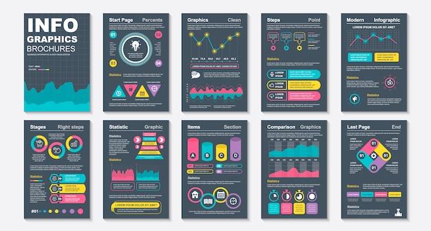 Infografika szablon wizualizacji danych broszury.