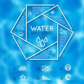 Infografika szablon woda z tekstury niewyraźne i linii aqua ikony